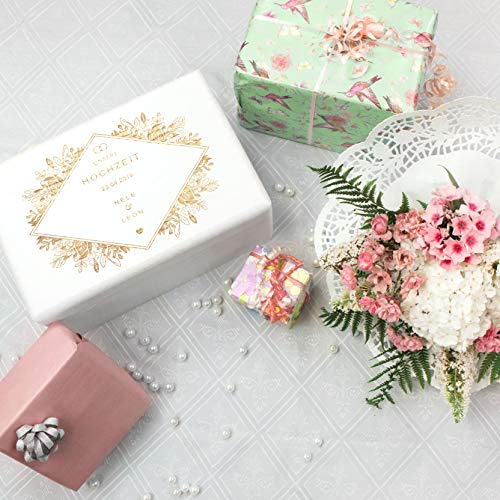 LAUBLUST Holzkiste zur Hochzeit - Florale Raute - Geschenkkiste Personalisiert mit Gravur - ca. 30x20x14cm, Weiß, FSC® - 2