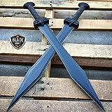 2PC 24' GLADIATOR GREEK Roman BLACK SWORD MACHETE Gladius Medieval w/SHEATH