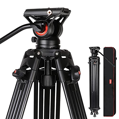 Video Tripod, COMAN KX3636 74 inch Complete Tripod Units, Professional Heavy Duty Aluminum Tripod with 360 Degree Fluid Head and Mid-Level Spreader 13.2LB Load for DSLR, Camcorder, Cameras and More