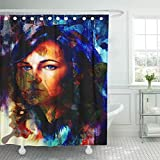 HLSCYZ Shower Curtain Green Abstract Woman Angelic Face and Butterfly Structure Color Shower Curtains Sets with Hooks 72 x 72 Inches Waterproof Polyester Fabric