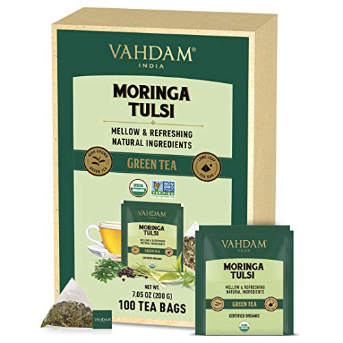 VAHDAM, Bio-Moringa Tulsi Grüntee (100 Teebeutel)   Moringa + Grüntee + Heiliges Basilikum + Schwarzpfeffer   100% Natürliche Zutaten   Verjüngender Abendtee Pyramide Grünteebeutel