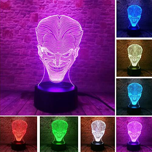 3D Lampe Character Lächelndes Gespenst Nachtlicht Für Kinder Led Tischlampe Mit 7 Farbwechsel Schlafzimmer Nachttisch Dekoration Kinder Spielzeug Geschenk Für Weihnachten Geburtstag