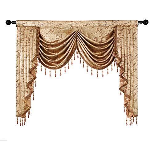 ELKCA European Curtain Valances for Living Room Luxury Window Curtains for Kitchen,Rod Pocket (W59, 1Panel)