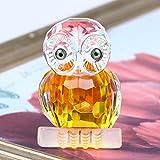 H & D Kristall Figur Eule Kollektion Briefbeschwerer Tisch Mittelpunkt Ornament, gelb - 3