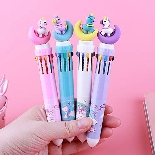 Bolígrafo retráctil con forma de unicornio de 10 colores, ideal como regalo de cumpleaños para niños y niños