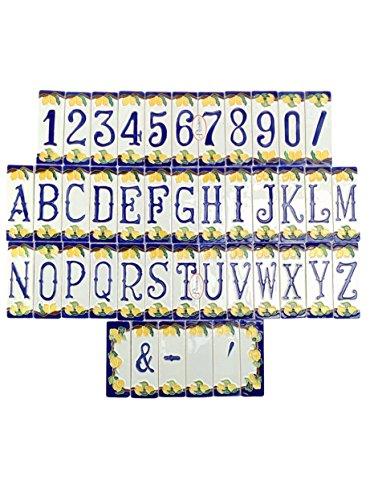 Keramikhausnummern mit Zitronenmotiv, Keramikobjekt im Freien von Hand gefärbt nlp Maße: Anzahl H 12 cm, L 4 cm, Dicke 0,7 cm. Korn H 12 cm, L 4 cm, Dicke 0,7 cm