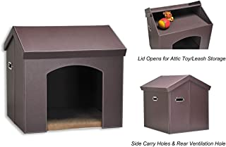 PAWLAND Collapsible Leather Pet Haven Indoor Cat Dog House for Small Dogs,Cats, Folding Dog House with Toys Storage and Bed,Roof Opens, Brown