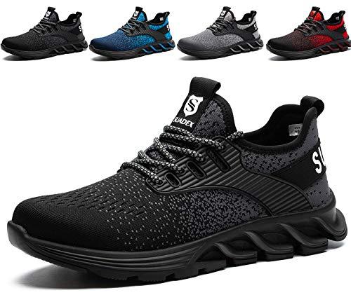 SUADEX Sicherheitsschuhe Herren Damen Arbeitsschuhe mit Stahlkappe Leicht Atmungsaktiv Sportlich Arbeits Schuhe (Schwarz,42EU)