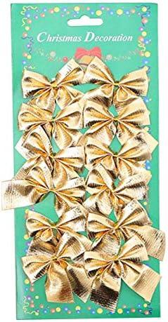 Kerstversiering 12 stks Strik Kerstboom Opknoping Ornament Wedding Garden Home Xmas Holiday Party DIY Decor Golden