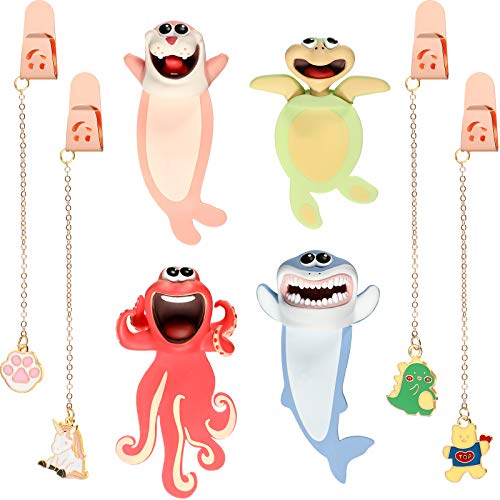 8 Pieces Cute Cartoon Animal Bookmarks, Includes 4 Wacky Animal 3D Bookmarks and 4 Metal Pendant Bookmarks, Funny Cartoon Bookmarks for Kids Students Teachers Birthday Presents Party Favors, 8 Designs