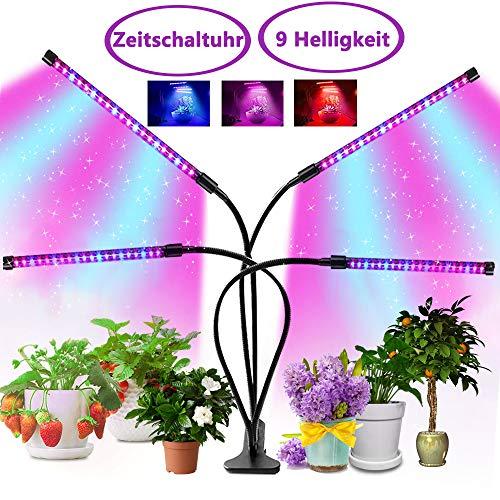 led pflanzenlampe vollspektrum, 40W Pflanzenlicht mit Zeitschaltuhr, 4 Heads 80 LEDs Pflanzenleuchte, Wachstumslampe für Zimmerpflanzen, 3 Arten von Modus, Dimmbar 9 Arten von Helligkeit