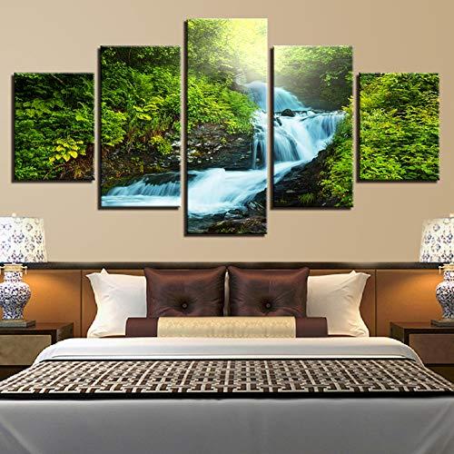 KDSFHLL 5 Pinturas Decorativas Pinturas Arte De La Pared Impresiones 5 Piezas Forest Brook Torrent Imágenes Cascada Paisaje Natural Decoración del Hogar