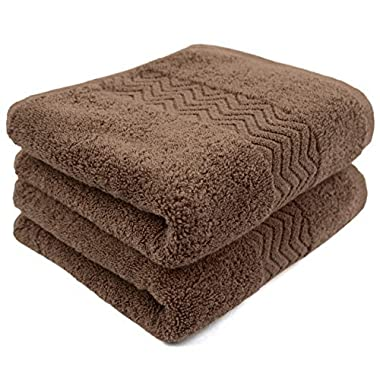 Cleanbear 100% Cotton Hand Towels, Highly Absorbent, Set of 2, 13 x 28 Inch (Brown)