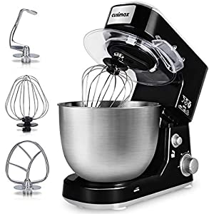 Stand Mixer, Cusimax Dough Mixer Tilt-Head Electric Mixer with 5-Quart Stainless Steel Bowl, Dough Hook, Mixing Beater and Whisk, Splash Guard, CMKM-150, Black by CUSIMAX