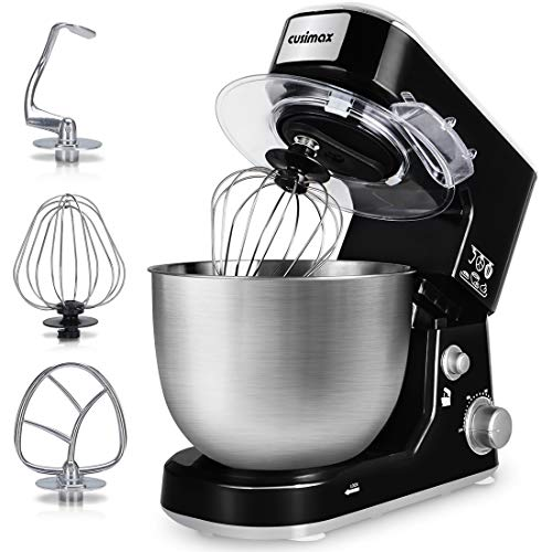 Stand Mixer, Cusimax 800W Dough Mixer Tilt-Head Electric Mixer with 5-Quart Stainless Steel Bowl, Dough Hook, Mixing Beater and Whisk, Splash Guard, CMKM-150, Black