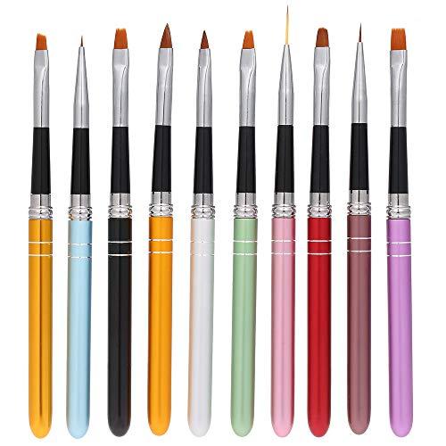 Anself 10pcs pennelli per unghie Art Design Polacco Brush Pen Set Nylon UV Gel Pittura Strumento unghie Pennello Stampa Decorazione Kit