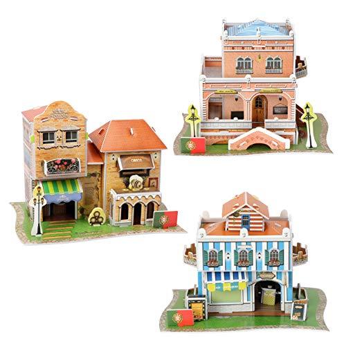 3D立体パズル 3点セット 手作りキット ビルディングセット 建築模型 ハウスキット 知育玩具 8歳以上 男の子 女の子 大人 入園祝い 新年 ギフト 誕生日 プレゼント 贈り物 DIY 組立 ペーパークラフト 子供 かんたん組立 ノリ・ハサミ・カッター不