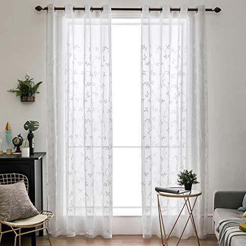 MIULEE Voile Vorhang Blumen Stickerei Vorhänge mit Ösen transparent Gardine 2 Stücke Ösenvorhang Gaze paarig schals Fensterschal für Wohnzimmer Schlafzimmer 245 cm x 140 cm(H x B) 2er-Set