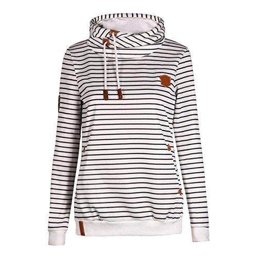 YunPeng Women's Striped Hoodies Slim Long Sleeve Drawstring Pullover Sweatshirts