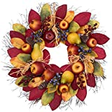 Valery Madelyn 24 inch Christmas Fall Wreath for Front Door, Wreath with Apple, Pear, Blueberry, Berries and Pine Cone for Home Decor Harvest Indoor Outdoor Window Wall Thanksgiving Decoration