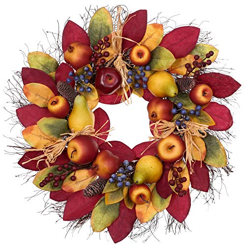Fall Fruit Wreath Apple, Pear, Blueberry, Berries and Pine Cones