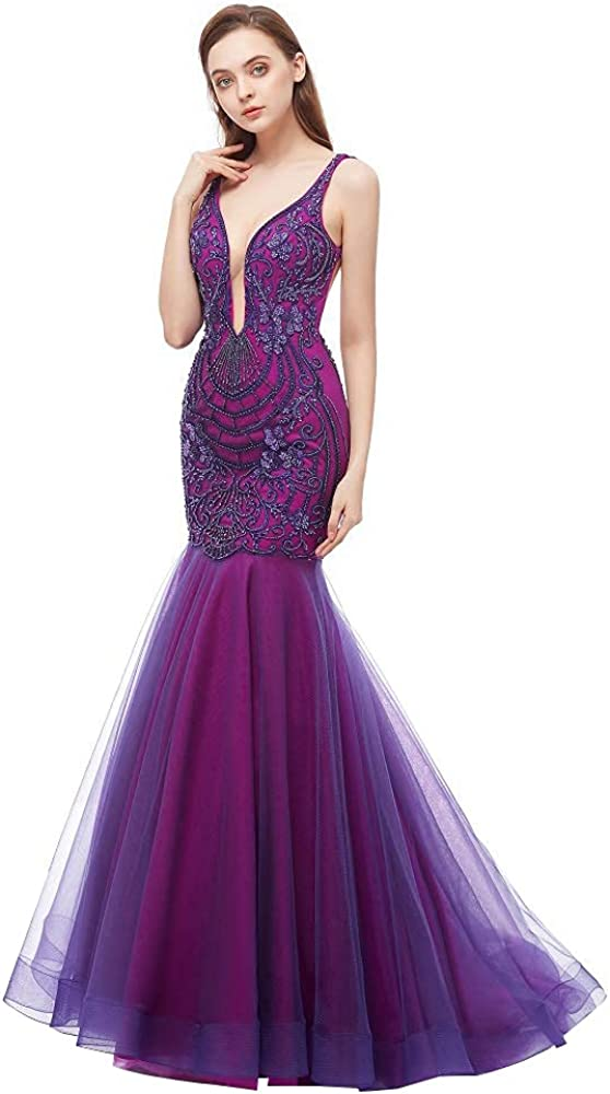 Leyidress Mermaid Evening Dresses Trumpet Prom Dress Embroider V-Neck Dress for Women Party Prom
