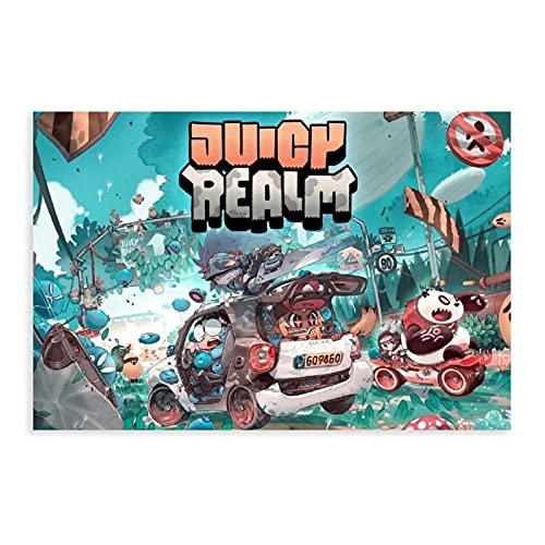 """Poster in tela con scritta """"Juicy Realm Game"""", idea regalo per la cameretta dei bambini, per la camera da letto, lo sport, il paesaggio, l'ufficio"""