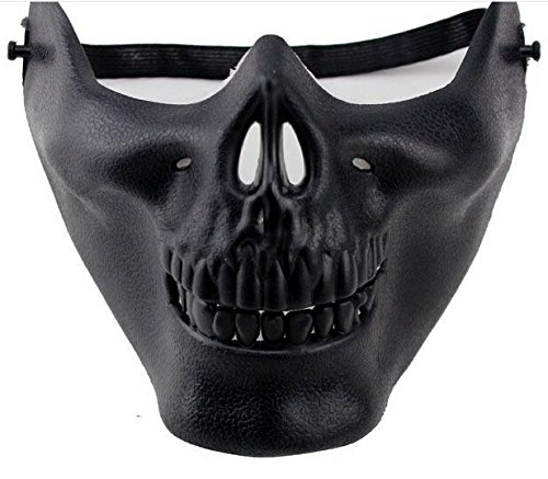 JERKKY Airsoft Skull Mask Media Cara Dev Novedad Motocicleta Mascarada Fiesta de Halloween Masquerade Negro