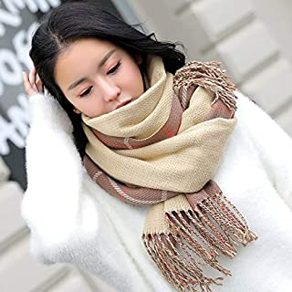 Winter Long Scarf Scarf Female Winter Wild Thick Long Section Japanese Small Fresh Knitted Plaid Double-Sided Scarf (Color : Red) Winter Soft Scarf (Color : Khaki)