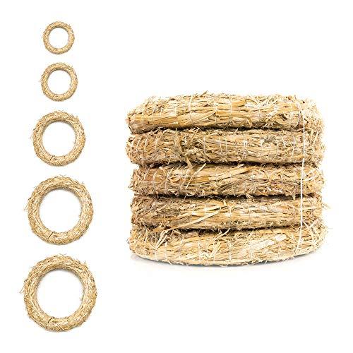DekoPrinz® Strohkränze, 5 Stück | ø 33 cm Durchmesser | 6 cm Stärke | Strohrömer, Türkranz, Deko-Kranz, Kranz-Rohling, Strohring