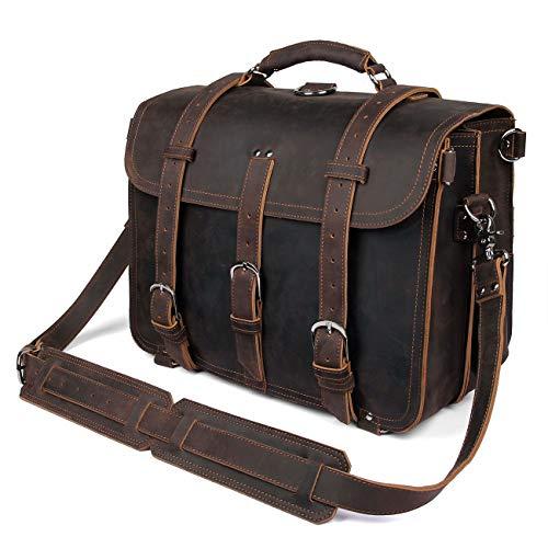 Texbo da uomo in pelle bovina a tracolla ventiquattrore Fit 43,2cm di borsa di stoffa nero Black L