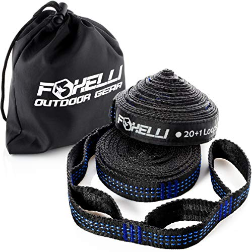 Foxelli Hammock Straps XL – Camping Hammock Tree Straps Set (2 Straps & Carrying Bag), 20 ft Long...