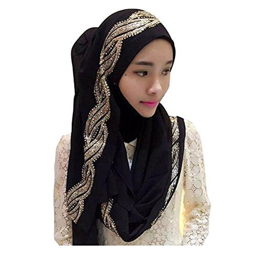 UK_Stone Damen Chiffon Einfarbig Muslimische Hijab Kopftuch Kopfbedeckung Islamischen Hijab Schal Indische Turban-Hüte Turbanmütze mit Champagner Muster, Schwarz