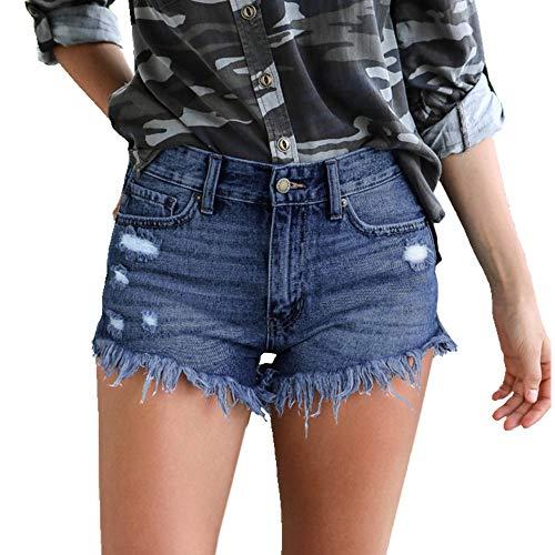 N\P Pantalones cortos de mezclilla para mujer con agujeros rasgados