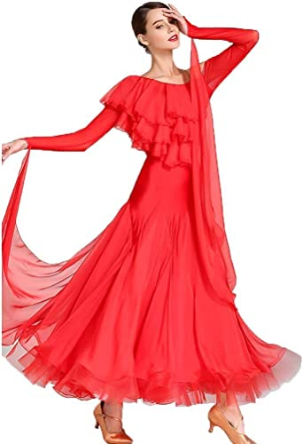 FADA Robe de Danse Moderne for Adulte, Simple épaule et déguisement de Grande Taille sans Manches, Tenue de soirée (Couleur   rouge, Taille   L)