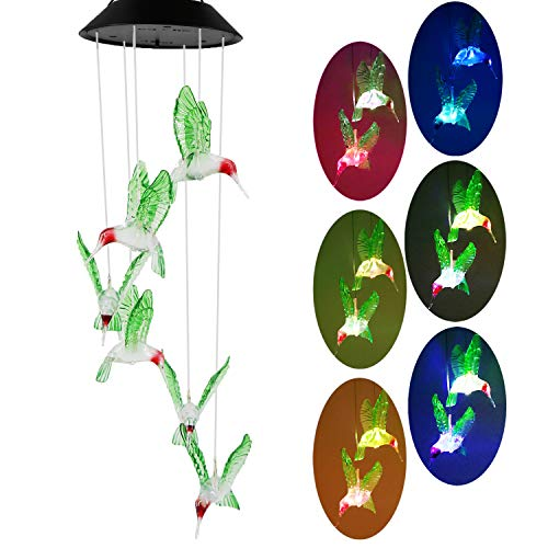 WINBOOM Hummingbird Wind Chimes Solar Hanging Lights Outdoor Waterproof Changing Colors Six Led Hummingbird Lights Mobile Decorative Hummingbird Wind Chimes for Gifts Home Garden Patio Decorations