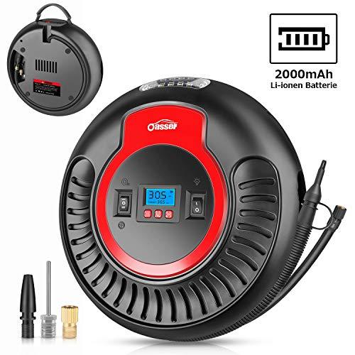 oasser Luftkompressor Luftpumpe 12V-/230V-Anschluss 120PSI mit 2000mAh Li-ionen Batterie und LED Licht 2 Betriebsarten (Gebläse und Aufpumpen-Funktion) für Autos, Luftmatratzen, Schlauchboote usw.