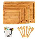 Boelley Bamboo Cutting Board set of 4 with 6 Utensils and 1 canvas bag Wood cutting boards with Juice Groove -handles -serving Tray kitchen Chopping Board for butcher block Cheese -Vegetables