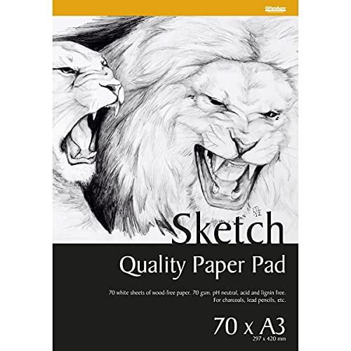 Panduro Skizzenblock DIN A3 x 70 Blatt - Skizzen Papier 70 g/m2, pH-neutral und säurefrei Sketchblock