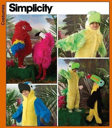 Simplicity 3663 Sewing Pattern makes Kids Bird Costumes Parrot Macaw Toucan More makes sizes 3-8