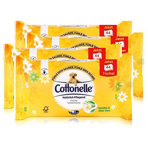 4x Hakle Cottonelle feuchte Toilettentücher Kamille & Aloe Vera 44 Tücher, Nachfüller