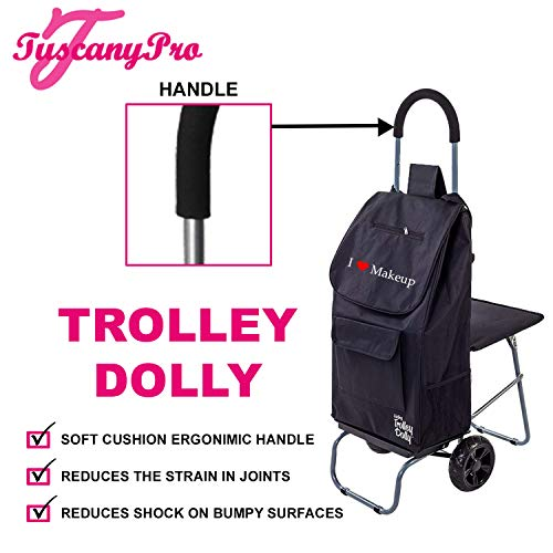 TuscanyPro Makeup Cart with Folding Chair - Unique Folding Trolley Dolly with Chair & A Makeup Artist Bag - US Patented - 10 Years Warranty - Personalize with Name/Logo