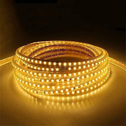 Tira de luces LED de 7 m, 220 V, impermeable, con enchufe europeo, 2835 SMD, cuerda flexible, 120 ledes/m, alta luminosidad, decoración exterior e interior