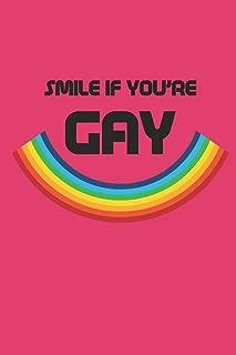 SMILE IF YOU'RE GAY: Notizbuch Gay Regenbogen Notebook Rainbow Journal 6x9 squared kariert