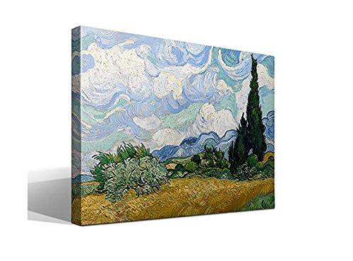 cuadro canvas Campo de trigo con cipreses de Van Gogh  - 55cm x 75cm