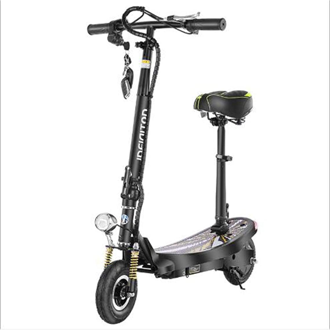 Small Folding Electric Scooter, Rechargeable Lithium Battery Brushless Powerful Motor Long Mileage Remote Control Off-Road Electric Bicycle for Adult,Black,30km