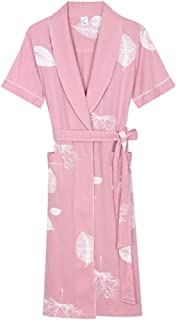 Cotton Nightgown, Women's Summer Short-Sleeved Robe, Loose lace-up Gown, Casual Home wear, Soft and Comfortable, (Color : Pink, Size : L)