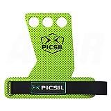 Picsil azor 3h calleras para cross training grips 3 agujeros. Protector de mano para hombre y mujer. Ideal box y gym (size medium - m, verde)