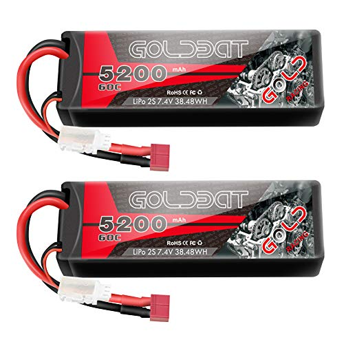 GOLDBAT 2S RC Battery 7.4V 60C 5200mAh LiPo Battery Hardcase Pack with Deans T-Plug for RC Car Evader RC Truggy Buggy RC Helicopter Evader Bx Auto LKW Truck RC Hobby (2Packs)