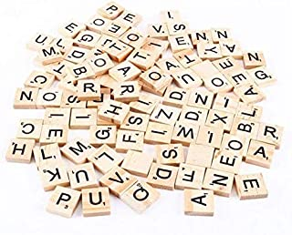 100PCs Scrabble Natural Wood Tiles Blocks 26 English Alphabet Letter DIY Spell Recognition Alphabet Wood Chips Home & Christmas Decorations